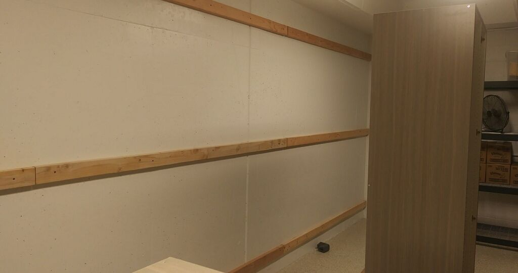 Cabinets on Concrete Wall